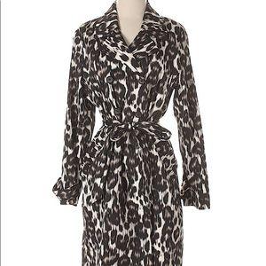 Dana Buchman Animal Print/leopard trench coat.
